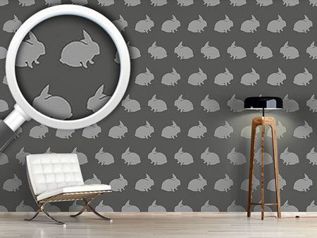 Pattern Wallpaper Grey Rabbits