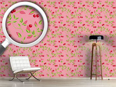 Pattern Wallpaper Cherry Branches Pink