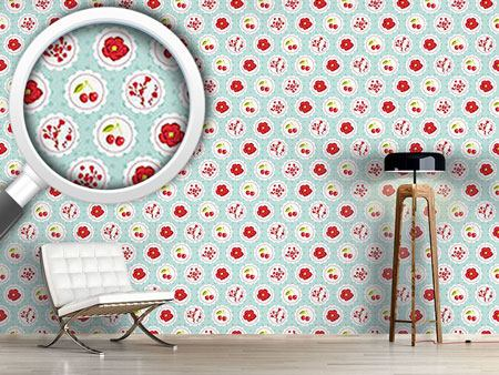 Pattern Wallpaper Grannys Cherry Garden Blue