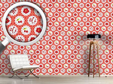 Papier peint design Grannys Cherry Garden Red