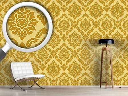 Designmuster Tapete Pop Barock Gold