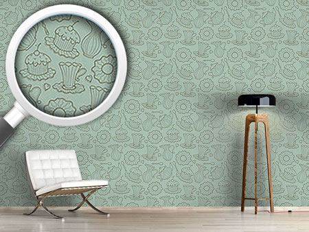 Pattern Wallpaper Hen Party Green