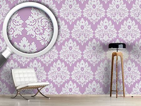 Pattern Wallpaper Damask Violet