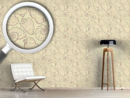 Pattern Wallpaper Shellfish Yellow
