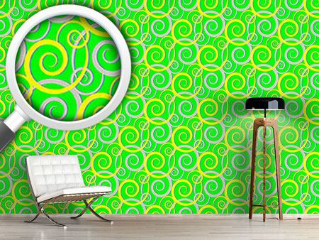 Pattern Wallpaper Curly Green