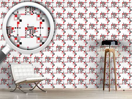 Pattern Wallpaper Red And Black Construction