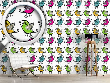 Pattern Wallpaper Four Cute Birds
