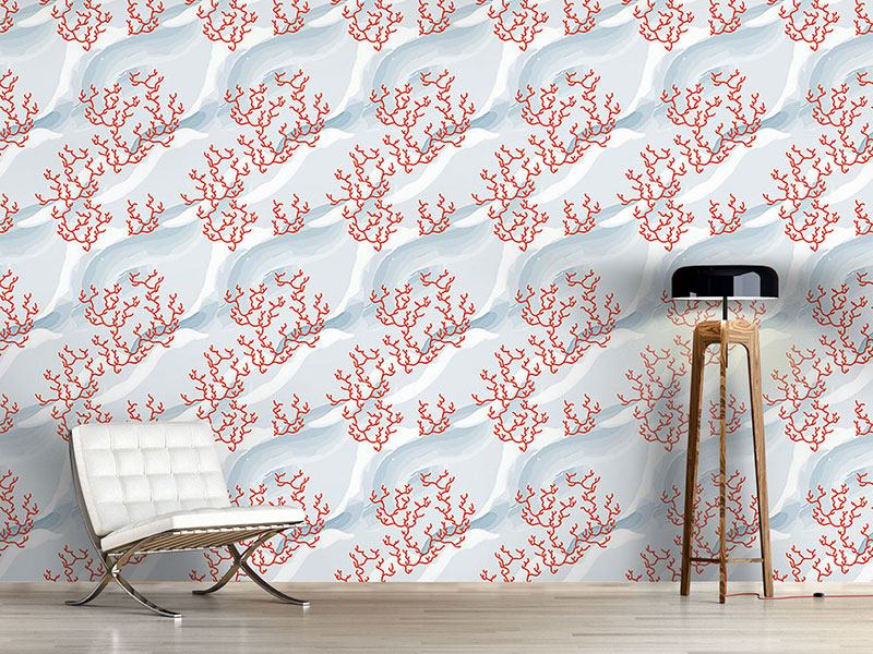 Pattern Wallpaper Fire Coral