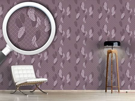 Pattern Wallpaper Gentle Feathers Brown
