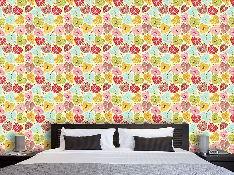 Pattern Wallpaper Heart Castles