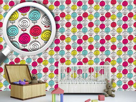 Pattern Wallpaper Lollipop Flowers