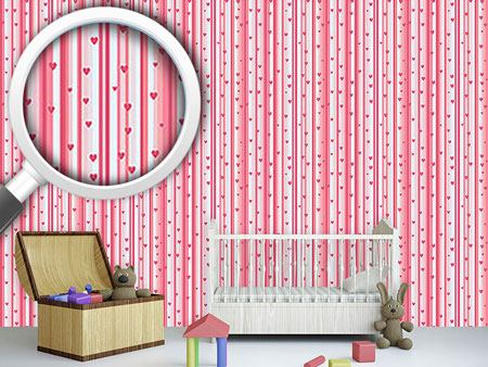 Pattern Wallpaper Romantic Hearts On Strips