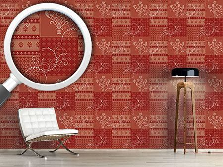 Designmuster Tapete Symphonie Floral Rot