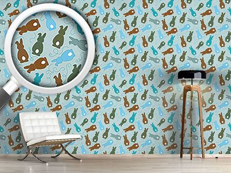 Pattern Wallpaper Bouncing Bunnies Blue