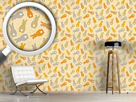Pattern Wallpaper Bouncing Bunnies Yellow