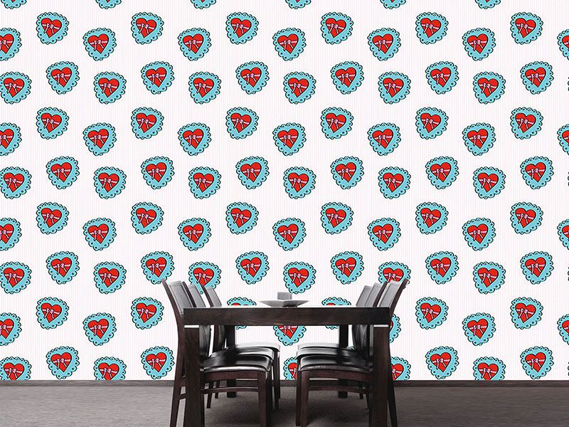 Pattern Wallpaper Heartshaped Box With Bow