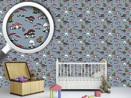 Pattern Wallpaper Picking Mushrooms