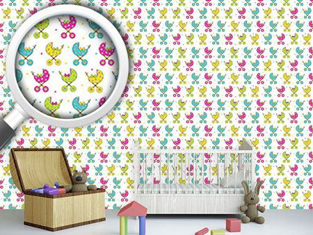 Pattern Wallpaper Baby Buggy Parade