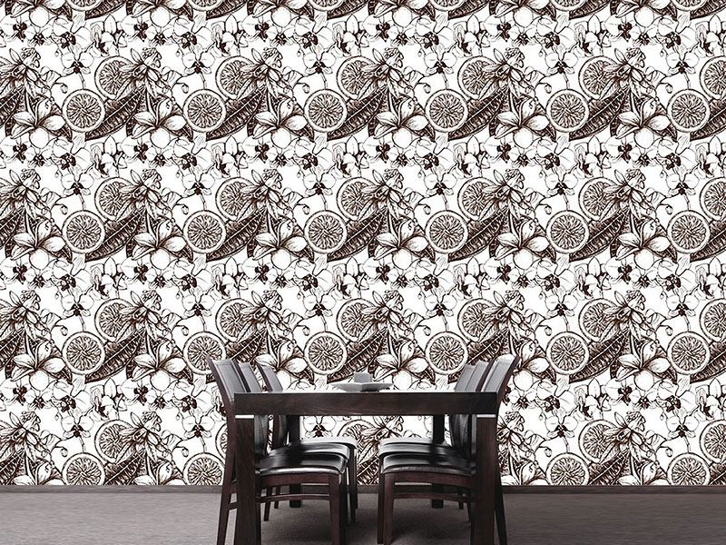 Pattern Wallpaper Vintage Exotic Flowers