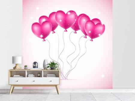 Papier peint photo Ballons en coeur