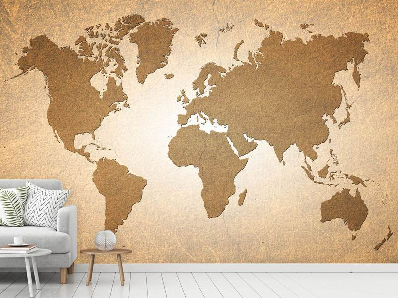Photo Wallpaper Map Of The World In Vintage