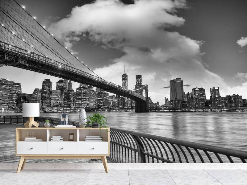 Photo Wallpaper Skyline Black And White Photography Brooklyn Bridge NY