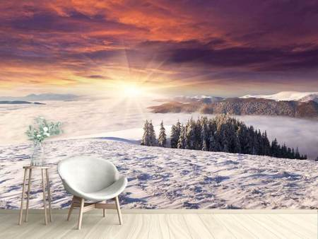 Photo Wallpaper Sunrise Winter Landscape