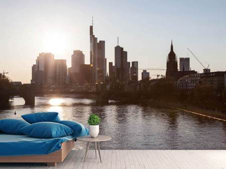 Photo Wallpaper Skyline Sunrise In Frankfurt